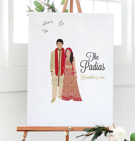 Indian Wedding Guest Book Alternative with Traditional Indian Wedding Attire