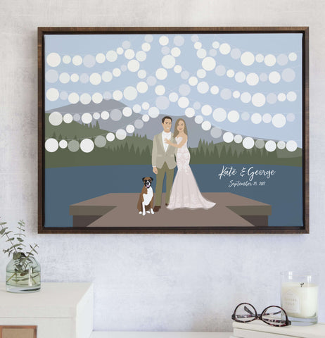 Miss Design Berry Guest Book Alternative Lake Wedding Guest Book Alternative with Couple on Dock