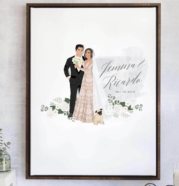 Wedding Guest Book Alternative with Custom Watercolor and Florals - The Fleur