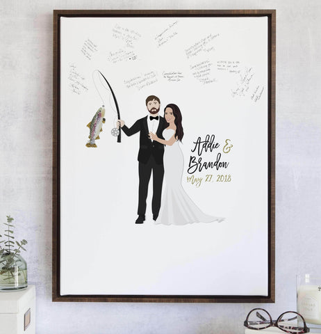 Miss Design Berry Guest Book Alternative Matte Paper / 11x14 (25 Guests) Wedding Guest Book Alternative with Fishing - Hunting - Outdoorsy Couple Portrait
