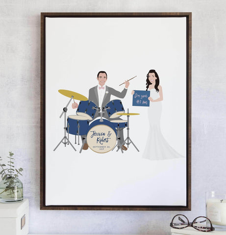 Miss Design Berry Guest Book Alternative Matte Paper / 11x14 (25 Guests) Wedding Guest Book Alternative with Musical - Dancing - Instrument Couple Portrait