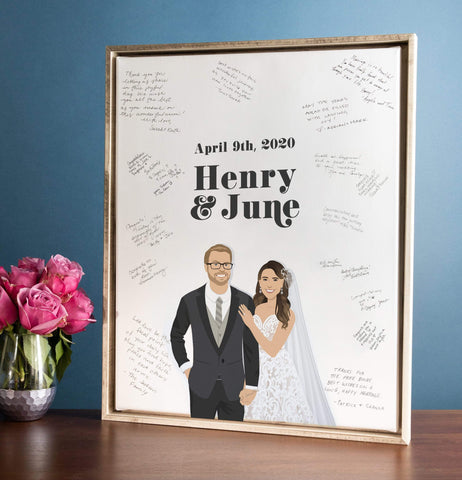 Miss Design Berry Guest Book Alternative Modern Wedding Guest Book Alternative with Couple Portrait - The June