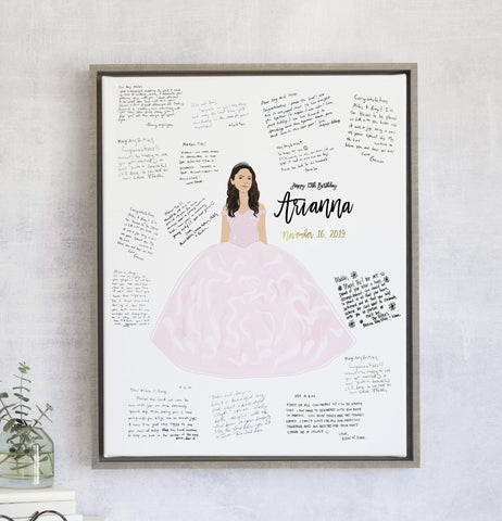 Quinceanera Guest Book with Portrait - 15th Birthday Guest Book Miss Design Berry