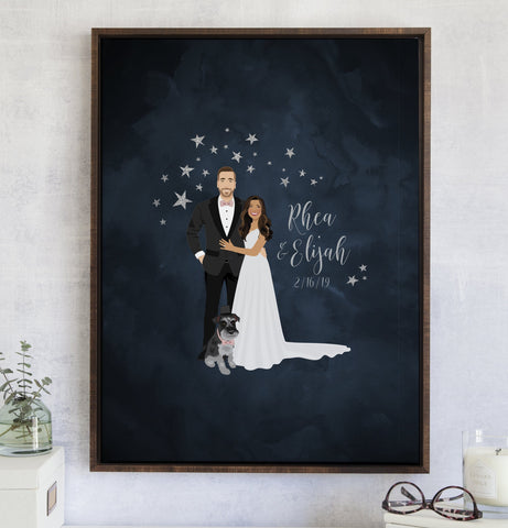 Miss Design Berry Guest Book Alternative Starry Night Wedding Guest Book Alternative with Portrait