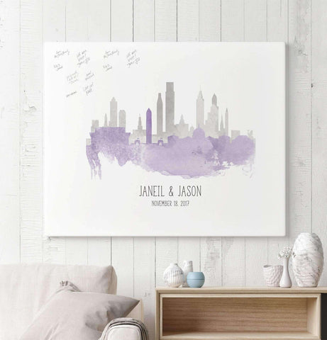 Miss Design Berry Guest Book Alternative Watercolor Skylines Guest Book Alternative with Custom Skyline Watercolor