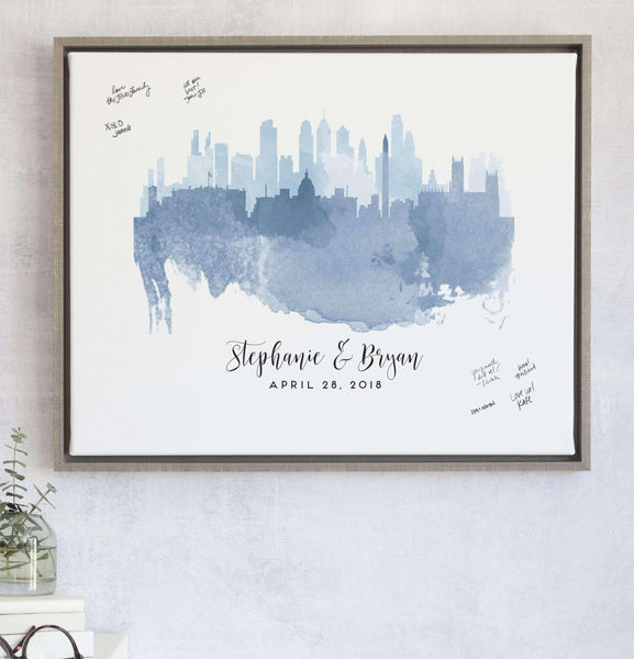 Watercolor Skylines Guest Book Alternative with Custom Skyline Watercolor