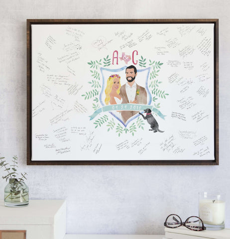 Miss Design Berry Guest Book Alternative Watercolor Wedding Crest Guest Book Alternative with Portrait - PRE-ORDER 2019