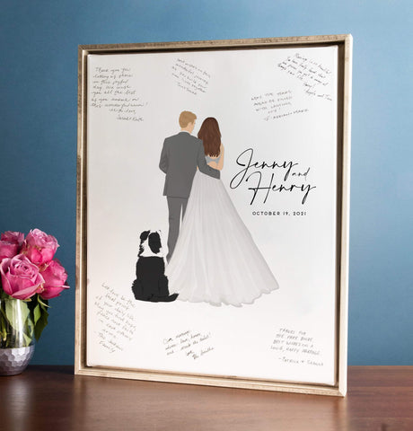 Wedding Guest Book Alternative with Back Facing Couple Portrait Miss Design Berry