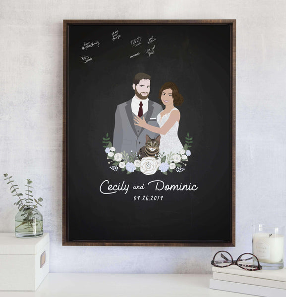 Wedding Guest Book Alternative with Chalkboard Portrait - Limited Edition