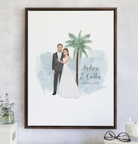 Miss Design Berry Guest Book Alternative Wedding Guest Book Alternative with Couple Portrait and Palm Tree