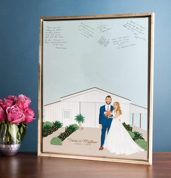 Wedding Guest Book Alternative with Couple Portrait and Venue