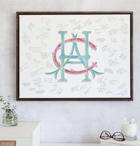 Miss Design Berry Guest Book Alternative Wedding Monogram Watercolor Guest Book Alternative