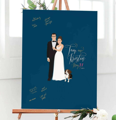 Miss Design Berry Guest Book Alternative Wedding Portrait Guest Book Alternative with custom colored background