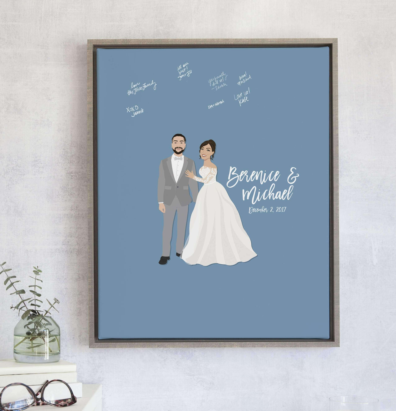 Wedding Portrait Guest Book Alternative with custom colored background