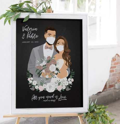 Wedding Welcome Sign with Chalkboard Portrait with Masks - COVID Edition Miss Design Berry
