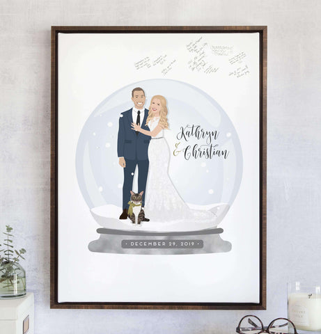 Miss Design Berry Guest Book Alternative Winter Wedding Guest Book Alternative with Snow Globe Portrait