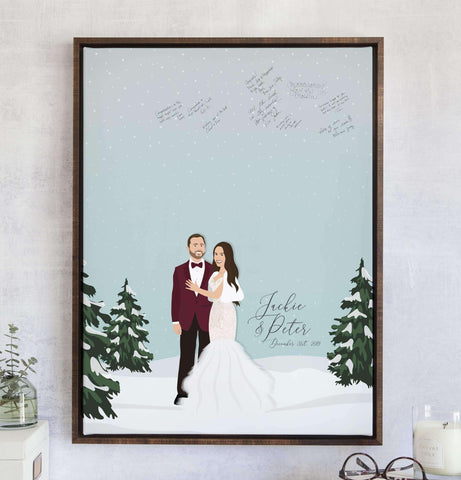 Miss Design Berry Guest Book Alternative Winter Wedding Guest Book Alternative with Snowy Portrait