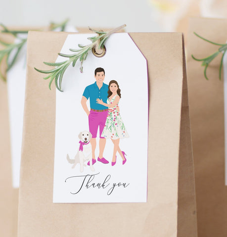 Miss Design Berry Hanging Tags with Couple Portrait