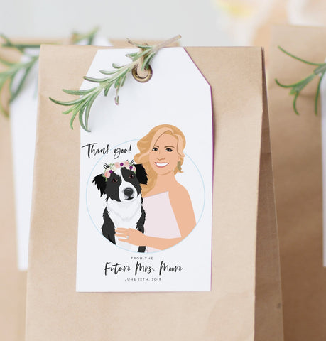Miss Design Berry Hanging Tags with Portrait of Bride for Bridal Shower Favors