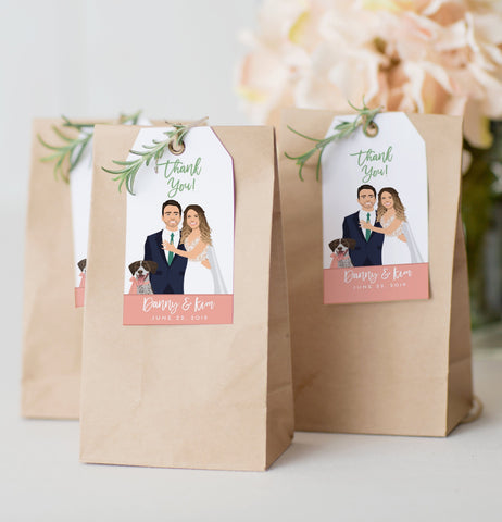 Miss Design Berry Hanging Tags with Wedding Portrait - Favor Tags
