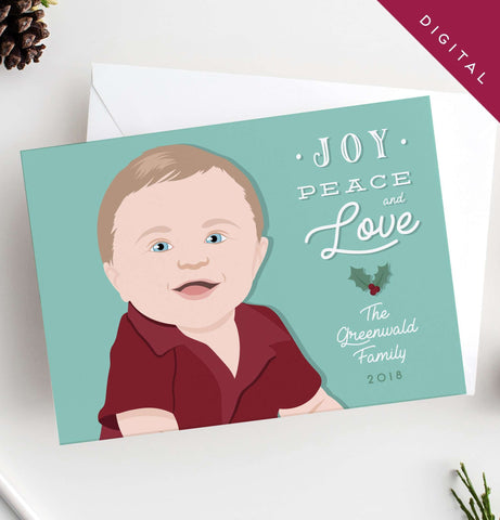 Miss Design Berry Holiday Cards Child Portrait Holiday Card - DIGITAL