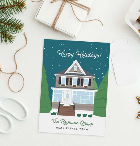 Miss Design Berry Holiday Cards Company Holiday Cards for Corporate or Small Business - Building Portrait