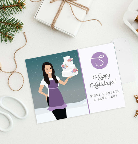 Miss Design Berry Holiday Cards Company Holiday Cards for Corporate or Small Business - Custom Portrait