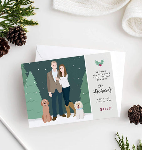 Miss Design Berry Holiday Cards Couple Portrait Holiday Card