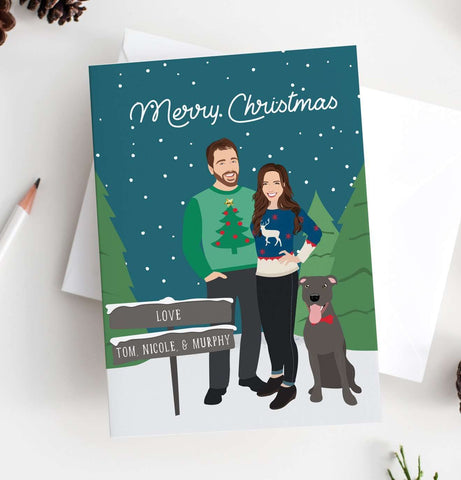 Miss Design Berry Holiday Cards Couple Portrait Holiday Card - Ugly Christmas Sweaters