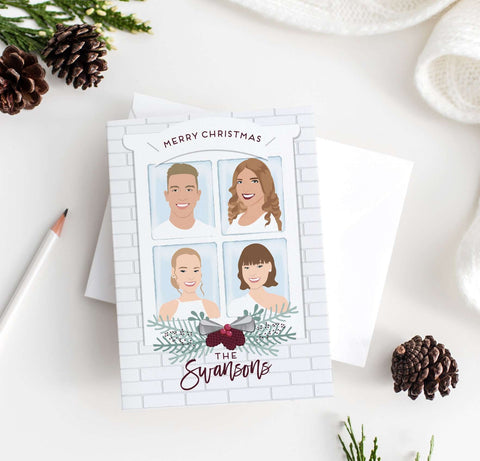 Miss Design Berry Holiday Cards Family Portrait Holiday Card - Snowy Window