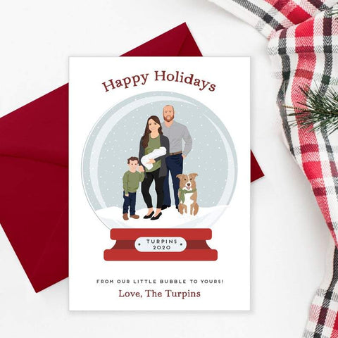 Family Portrait Holiday Card with Snow globe Miss Design Berry