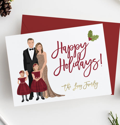 Miss Design Berry Holiday Cards Family Portrait Holiday Cards