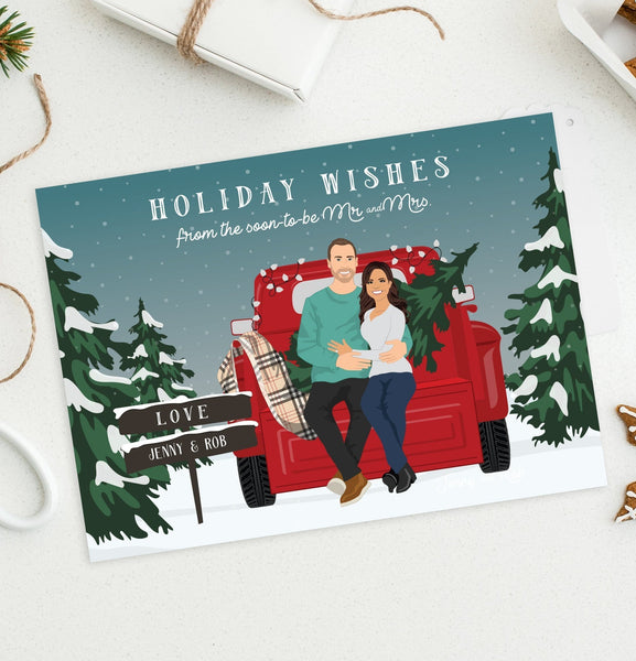 First Engaged Christmas Holiday Card with Pickup Truck Couple Portrait