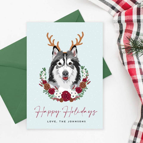Fun Dog Portrait with Antlers Holiday Card Miss Design Berry