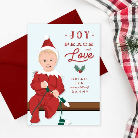 Fun Family Elf Christmas Card with Portrait of Child Miss Design Berry