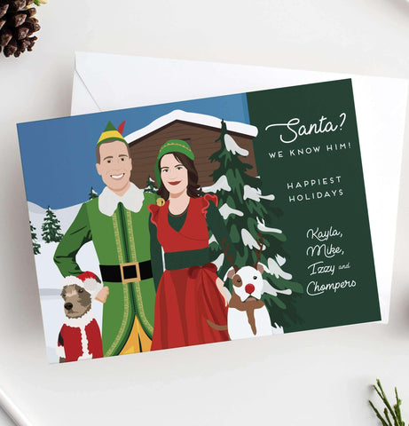 Miss Design Berry Holiday Cards Funny Holiday Cards with Themed Couple Portrait