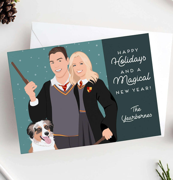 funny holiday cards with themed couple portrait