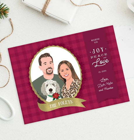Miss Design Berry Holiday Cards Holiday Card with Family Portraits on Plaid