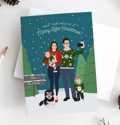 Miss Design Berry Holiday Cards Holiday Card with Ugly Holiday Sweaters Family Portrait
