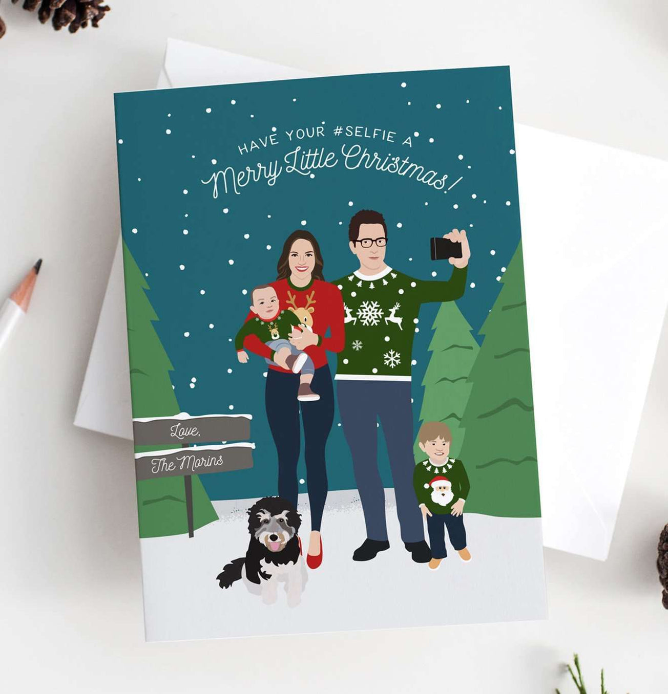 Holiday Card with Ugly Holiday Sweaters Family Portrait