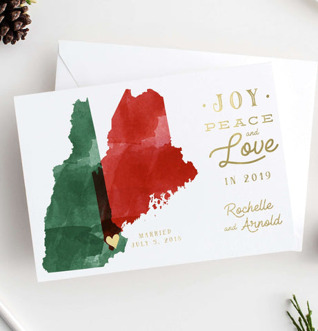 Miss Design Berry Holiday Cards Holiday Cards - Watercolor Map