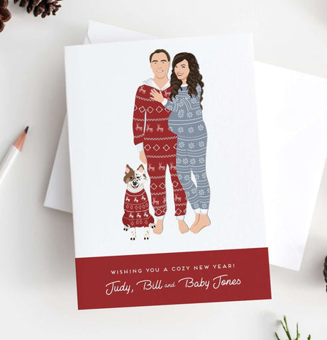 Miss Design Berry Holiday Cards Holiday Cards with Christmas Pajamas Pregnancy