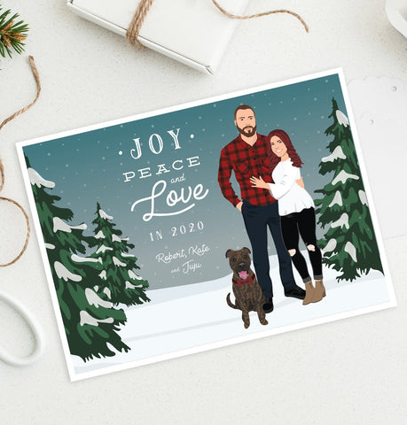 Miss Design Berry Holiday Cards Holiday Cards with Couple Portrait in Snowy Scene