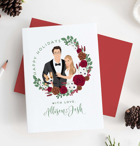 Christmas Cards with Couple Portrait in Wreath