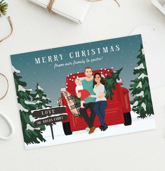 Family Holiday Cards with Portrait in Snowy Scene