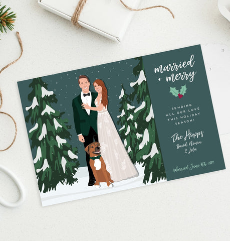 Miss Design Berry Holiday Cards Holiday Cards with Newlywed Portrait in Snow