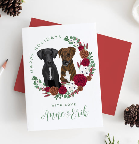 Miss Design Berry Holiday Cards Pet Portrait Holiday Card