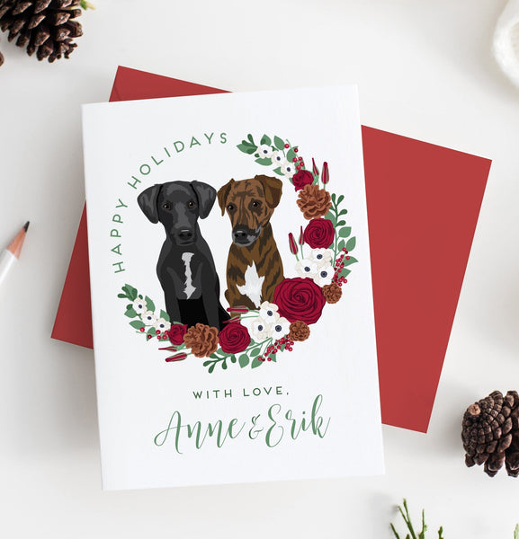 Pet Portrait Holiday Card with Wreath