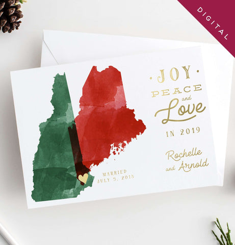 Miss Design Berry Holiday Cards Watercolor Map Holiday Cards - DIGITAL