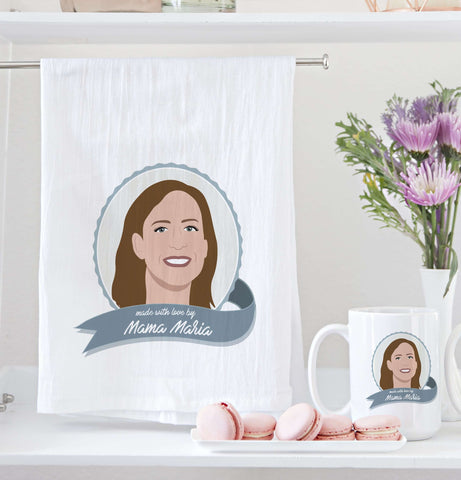 Miss Design Berry Mug Gift Set Made by Mom Gift Set: Custom Portrait Tea Towel and Mugs